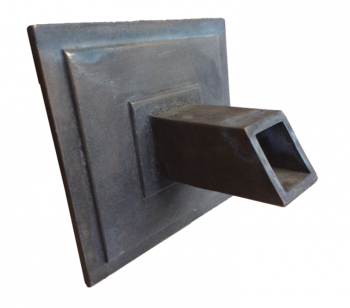 6″ SQ Backplate with SQ Spout (cast as 1 piece), 1″ ID